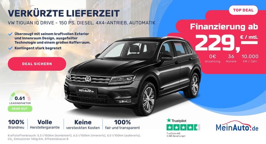 Ein Werbemittel von MeinAuto.de für einen VW Tiguan