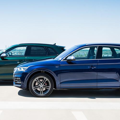 Audi SQ5, Seitenansicht, zwei Exemplare, stehend, blau und grau