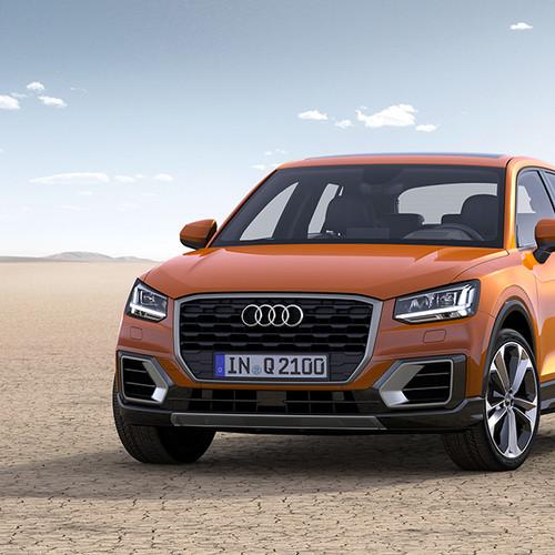 Audi Q2 Design, Halbseitenansicht von vorn, stehend, orange