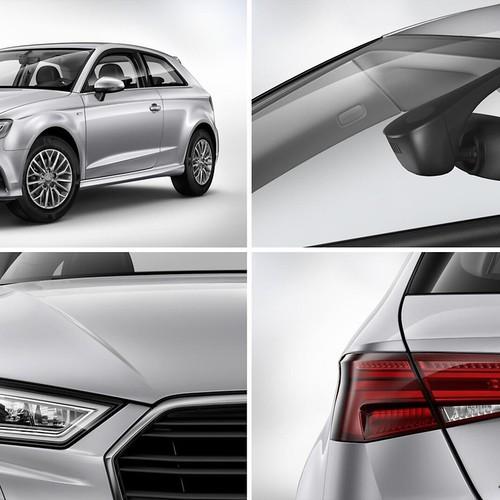Fotos von silbernen Audi A3 Sportback mit dem S line Selection Paket