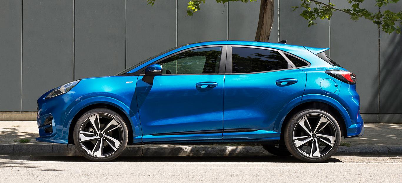 Ford Puma 2019, blau, Seitenansicht
