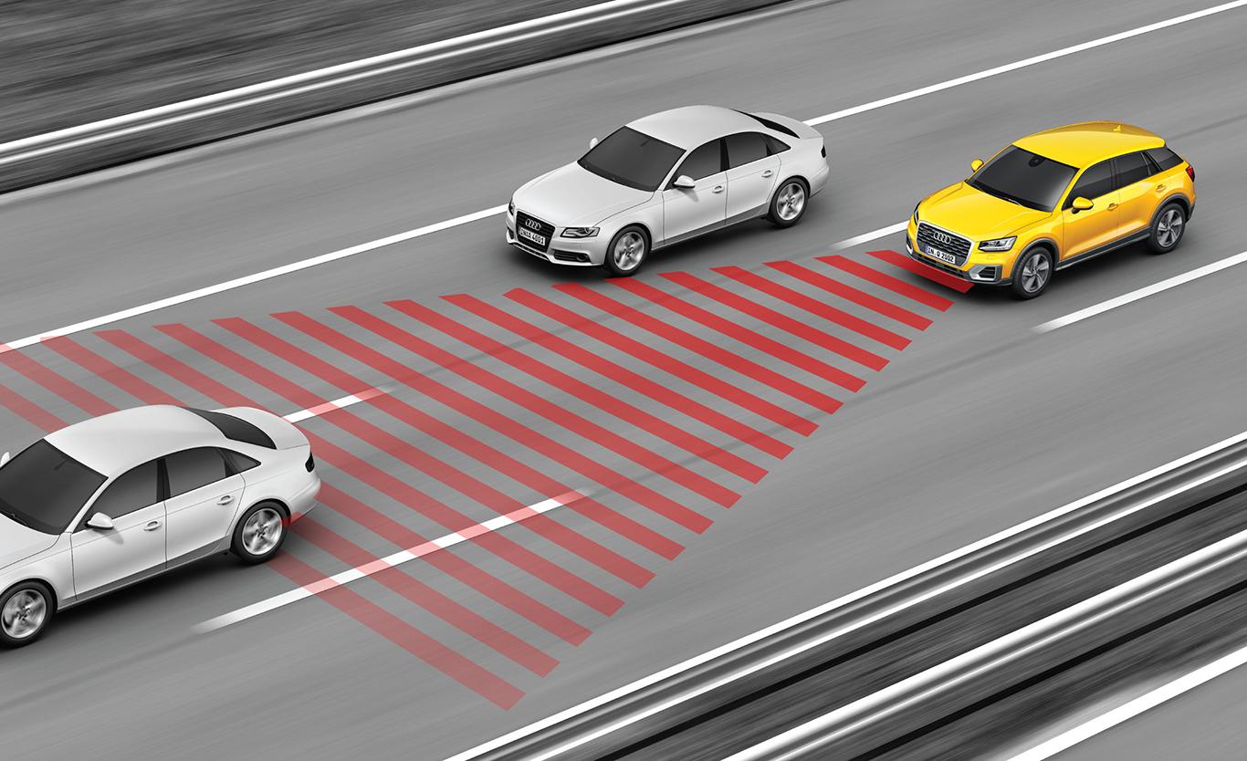 """Immer zurüstbar: Wichtige Sicherheits-Features wie der """"adaptive cruise control"""" (ACC) lassen sich für jede der drei Audi Q2-Linien ohne Preisunterschied dazu konfigurieren. Unterschiedlich teuer wird es erst bei Interieur und Exterieur."""