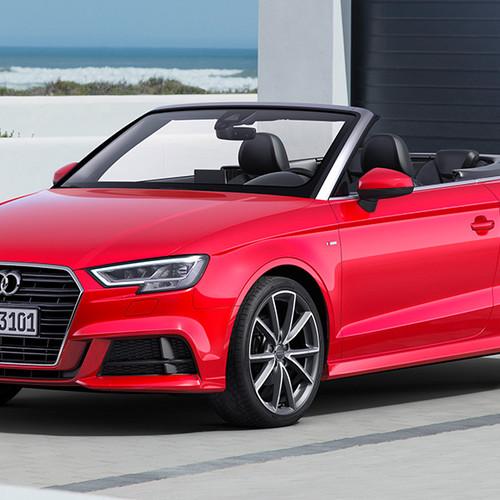 Audi A3 Cabrio, Halbseitenansicht von vorn, stehend, rot
