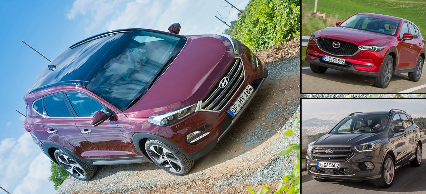 Ford Kuga, Hyundai Tucson und Mazda CX-5 im SUV-Vergleich: Frontansicht