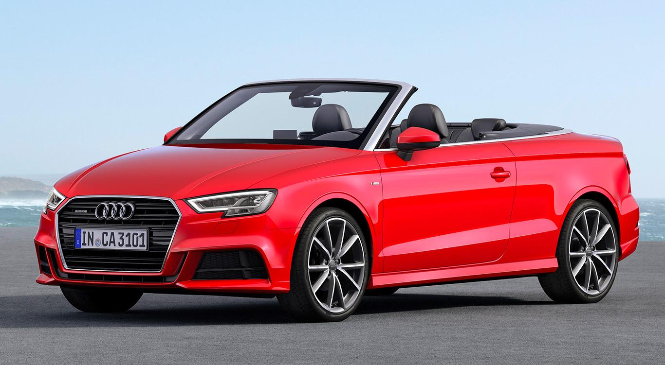 Audi A3 Sportback mit S line-Exterieur, Halbseitenansicht von vorne, stehend, rot