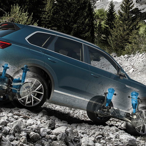 VW Touareg, Seitenansicht, Illustration mit Stoßdämpfern