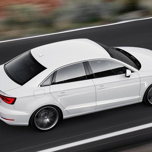 Audi A3 Limousine, Halbseitenansicht von oben hinten, fahrend, weiß