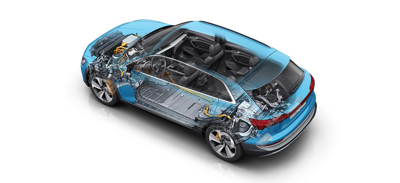 Audi e-tron, Grafik mit Innenansicht der verbauten Teile