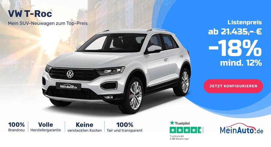 Werbemittel für den Kauf eines VW T-Roc der Firma MeinAuto