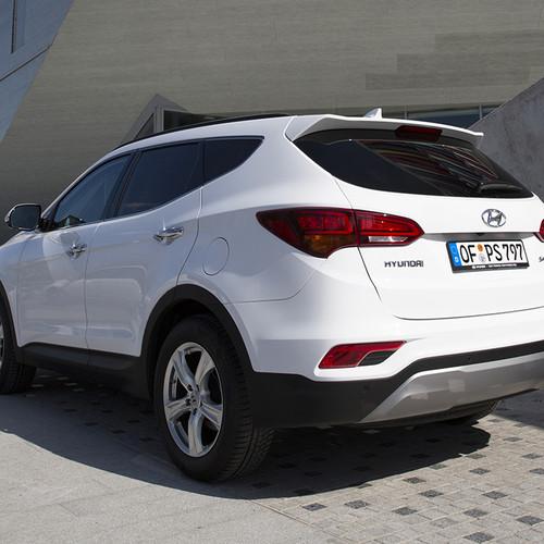 Hyundai Santa Fe 2017 Heckansicht Weiß