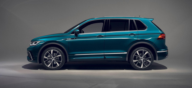 VW Tiguan, Seitenansicht, stehend, grau