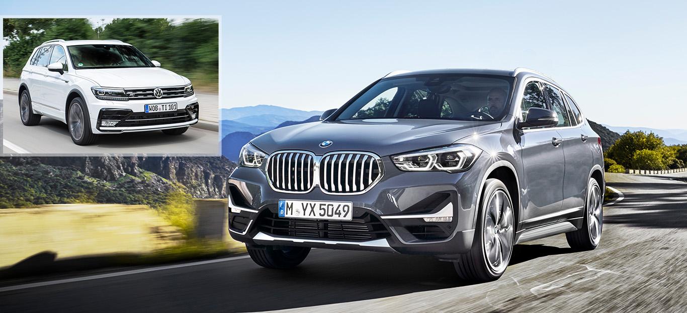 BMW X1 Facelift 2019, VW Tiguan, Halbseitenansicht von vorne, fahrend