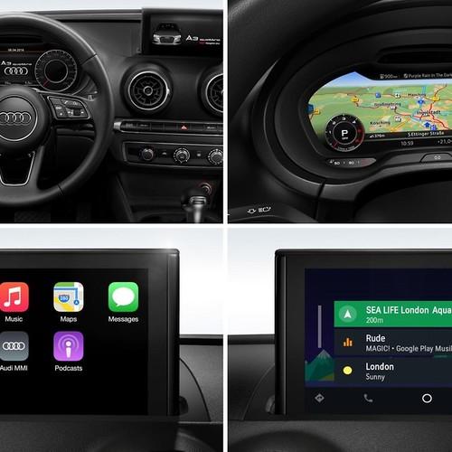 Die vier Elemente der Audi A3 Sportback Technology selection: Das Multifunktions-Sportlenkrad, Audi virtual cockpit, Audi Smartphone interface und das MMI Navigation plus.
