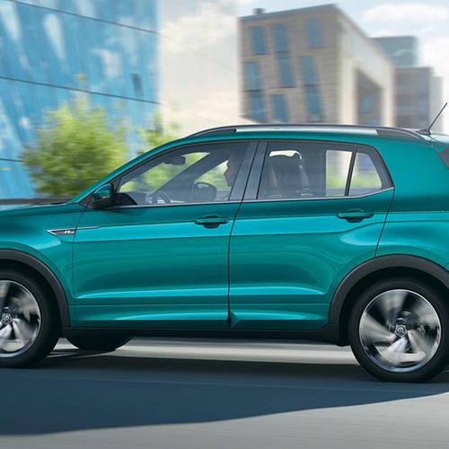 VW T-Cross, Seitenansicht, fahrend, grau