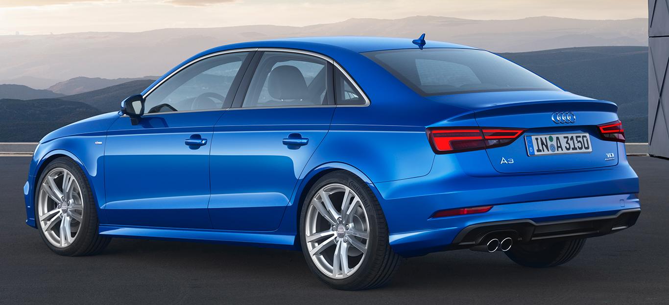 Audi A3 Limousine, blau, Heckansicht
