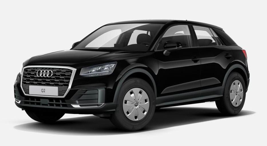 """Der Audi Q2 als Basismodell und in der kostenlosen Standard-Farbe """"Brillantschwarz uni""""."""