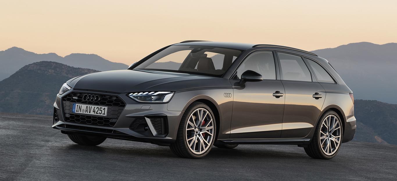 Audi A4 Facelift, Halbseitenansicht von vorn, stehend, grau