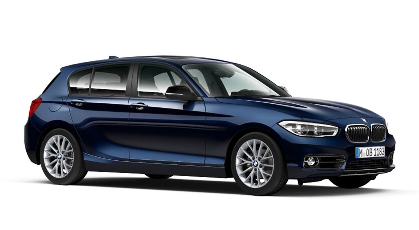 """Das Ergebnis unseres Konfigurator-Test: der BMW 1er """"Sport Line"""" in """"Mediterranblau metallic"""" und 17-Zoll-Leichtmetallfelgen."""