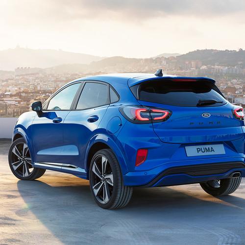 Ford Puma 2020, blau, Heckansicht