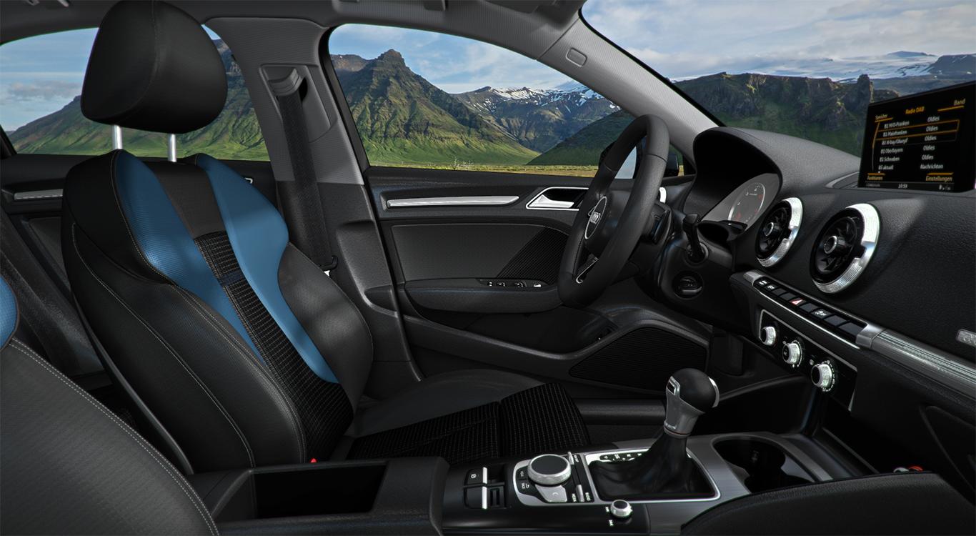 Bei den Bezügen hat Audi attraktive Lösungen parat. Auf Leder verzichten wir und entscheiden uns für eine Stoffausführung mit der Kombination schwarz und arabablau.