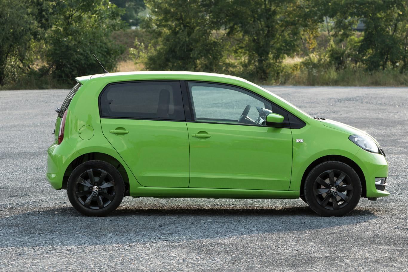 Ein grüner Skoda Citigo in der Seitenansicht. Foto: Skoda