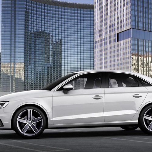 Audi A3 Limousine, Seitenansicht, stehend, weiß