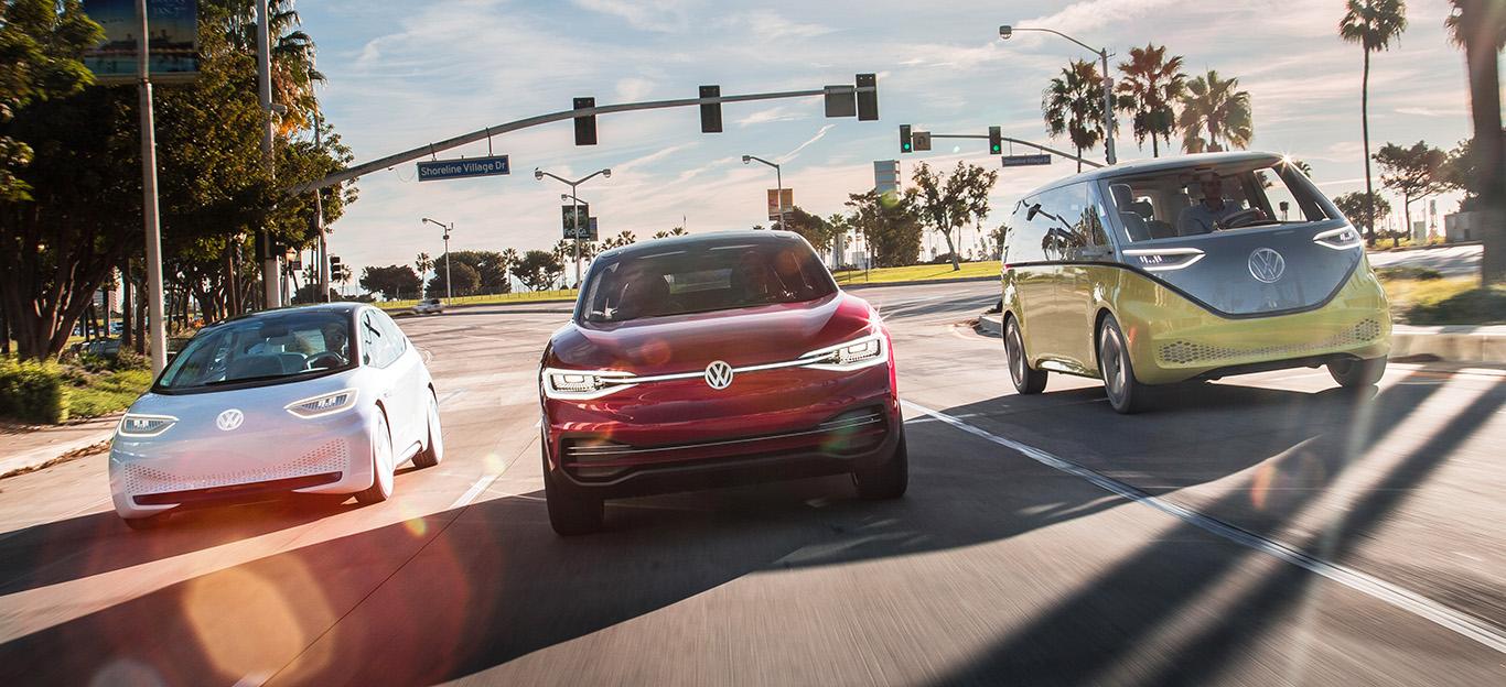 VW Elektroautos Volkswagen Frontansicht Fahraufnahme