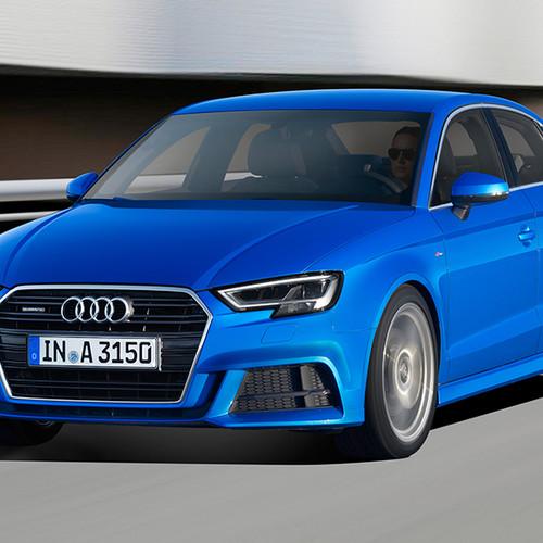 Audi A3 Limousine, Halbseitenansicht von vorne, fahrend, blau